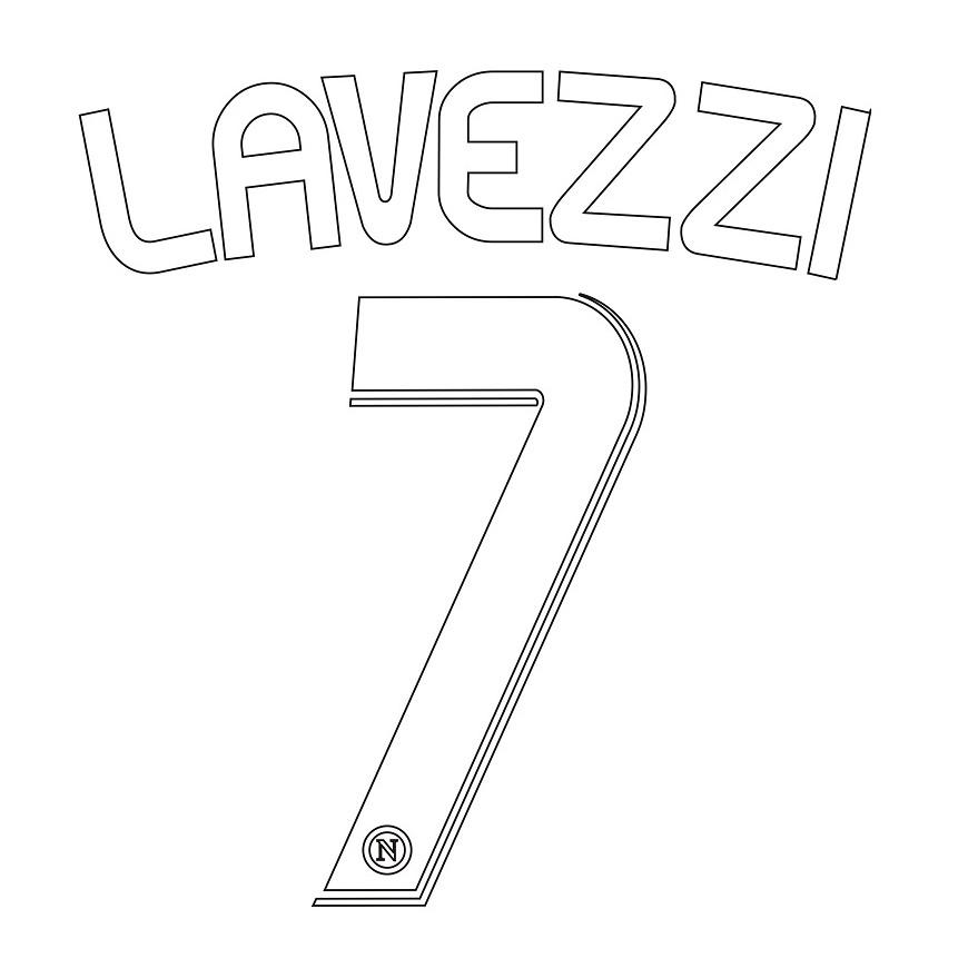 2008-09 NAPOLI LAVEZZI 7 NAMESET KIT NOME E NUMERO HOME